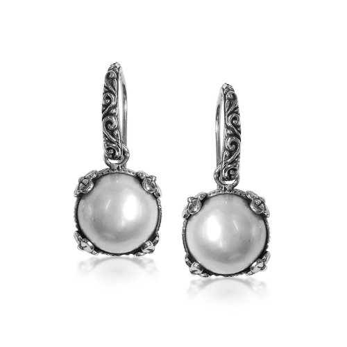 Bali Sterling Silver Fashion Earrings - Sterling Silver Earring with Mabe Pearl AE-6075-PE