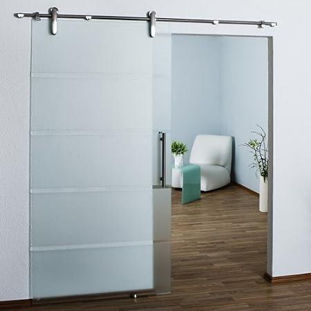 SL6B Glast/ür//Glasschiebet/ür//Schiebet/ür//Schiebet/ürsystem Edelstahl 900x2050x8mm Ganzglasschiebet/ür teilsatiniert DIN Links