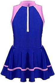 Freebily Big Girls One Piece Stripe Swimsuit Swimdress Tank Top Pleated Skirt Sports Swimwear Bathing Suit