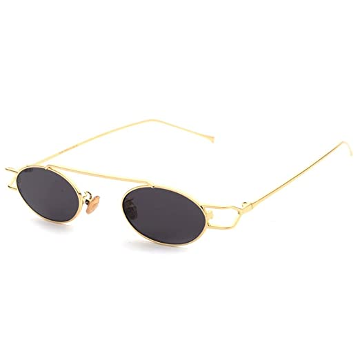 3020ca02ee1 Retro Sunglasses for Men Trending Style Oval Sun Glasses Women New Year  Gift (gold with