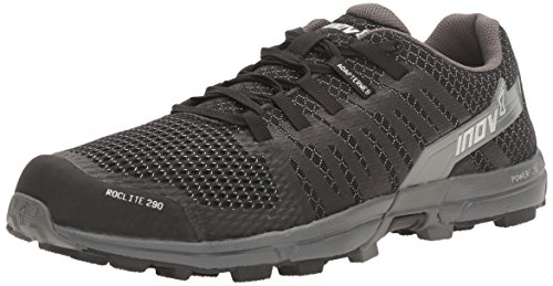 Inov-8 Men's Roclite 290 Trail Running Shoe, Black/Grey, 8.5 C/D US