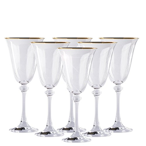 (Gold Rimmed & Diamond Decor Wine Glass Set (6 pack), Chip Resistant & Crystal Clear Red Wine Glassware, 100% Lead-Free - European Quality & Luxury Standard, 8.45)