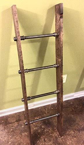 Rustic Industrial Pipe and Wood Blanket Ladder - Wood Quilt Ladder - Rustic Quilt Blanket Ladder - Pipe Decor Blanket Ladder by 25 Home Decor