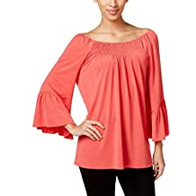 Cable & Gauge Womens Smocked Off-The-Shoulder Peasant Top