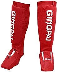 Combat Sports Washable MMA Elastic Cloth Shin&Instep Padded Guards, Premium Leg Protective Gear Guards&