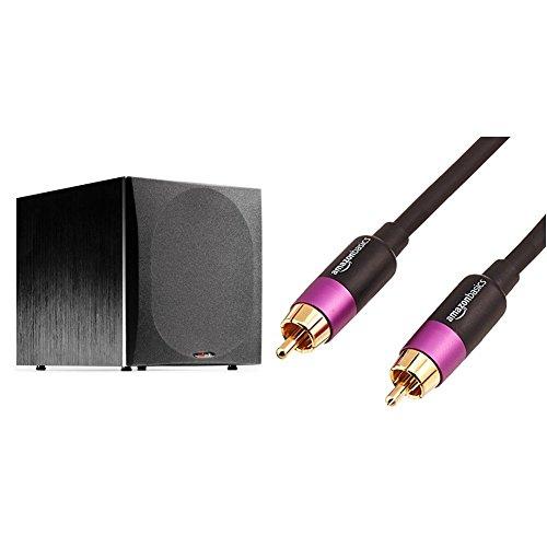 Polk Audio PSW505 12-Inch Powered Subwoofer (Single, Black) & AmazonBasics Subwoofer Cable - 15 Feet