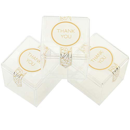 Andaz Press Candy Favor Boxes 3 x 3 x 3-Inch, Clear Hard Plastic Acrylic Candy Box Cubes, Favor Boxes with Gold Foil Thank You Favor Labels, in Bulk 24-Pack, Geometric Candy Gift Boxes for Favors