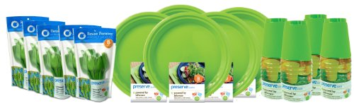 Preserve On the Go Tableware Set, 120 Pieces, Apple Green