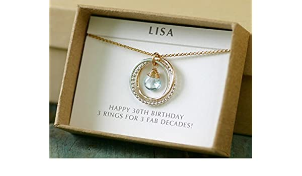 Amazon 30th Birthday Gift Topaz Necklace For Her December Birthstone Jewelry Daughter Handmade