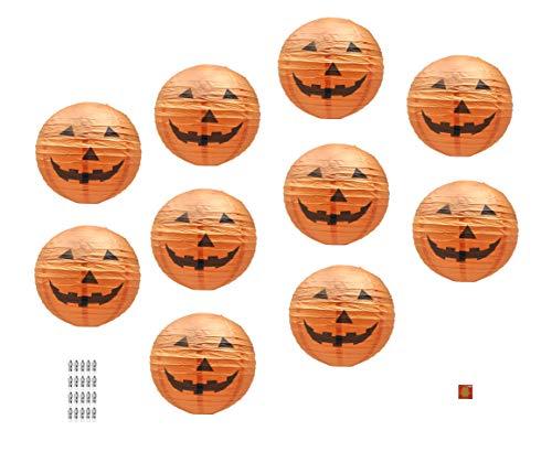 Halloween Crafts Pumpkins Paper (Mudra Crafts Halloween Paper Jack-O-Lantern, Orange Pumpkin Lamp with Led Lights, 12-Inch, Set of)
