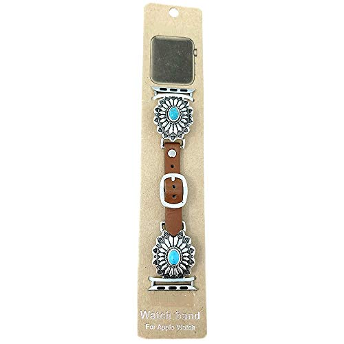 Emulily Compatible with Apple Watch Brown Leather Band 38/40 mm Western Concho Boho Turqouise ()