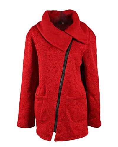 Bodeaux Maglione Giacche Obliqua Yonglan Cerniera Felpa Giacca Risvolto Donna Lungo Cappotto xwY0YSqv