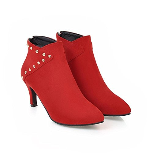 NVXIE Women Short Boots Stiletto High Heel Pointed Toe Suede Rivet Black Red Fall Winter Party Work RED-EUR41UK758 VrsWTU