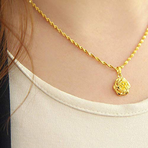 Womens Jewelry Yellow Gold Plated Water Wave Chain Rose Pendant -