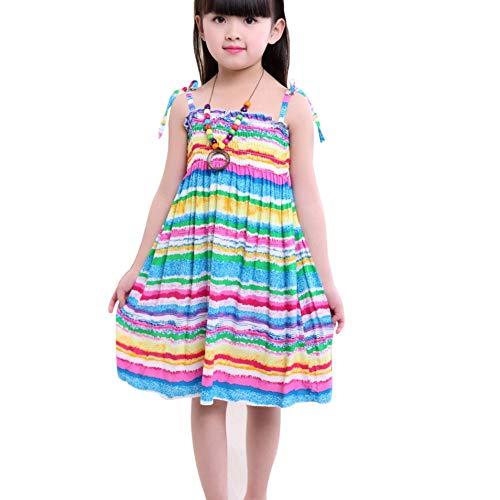 zhangwei Girls Bohemian Dresses Floral Sleeveless Rainbow Beach Sundress with Necklace Summer Sling -