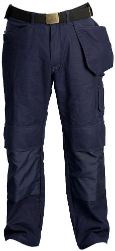 SKILLERS Knee Pad Work Pants, Two Tool Pockets, Navy Blue Color, 100% Cotton, Size 42x36 Cotton Lined Work Pants