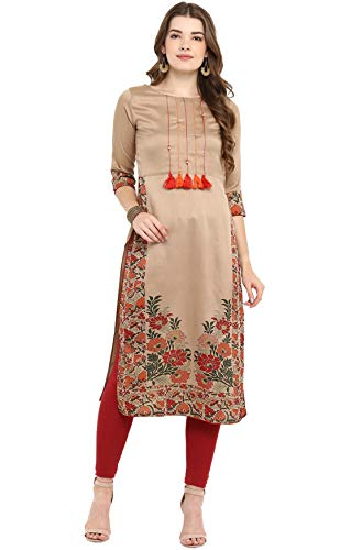 Janasya Indian Tunic Tops Poly Silk Kurti for Women (JNE2305-KR-533-S) Brown