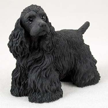 (COCKER SPANIEL Black Dog Figurine stands NEW RESIN DF15B )