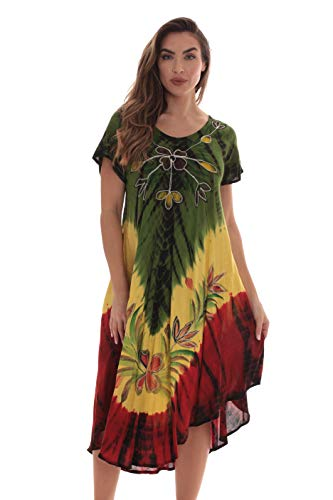 (Riviera Sun Rasta Short Sleeve Umbrella Dresses for Women)