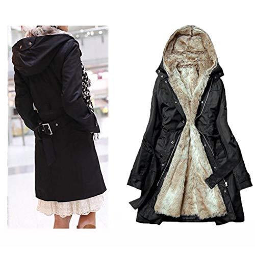 abrigos Las negros sherpa de de piel invierno mujeres de con forro rwPRxnCgrq