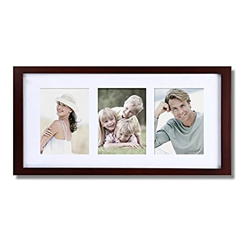 Asense 4X6 Decorative Walnut Wood Rectangular Picture Poster and Photo Frame With Mat for Wall (3 (The Dazzle Picture Frames)