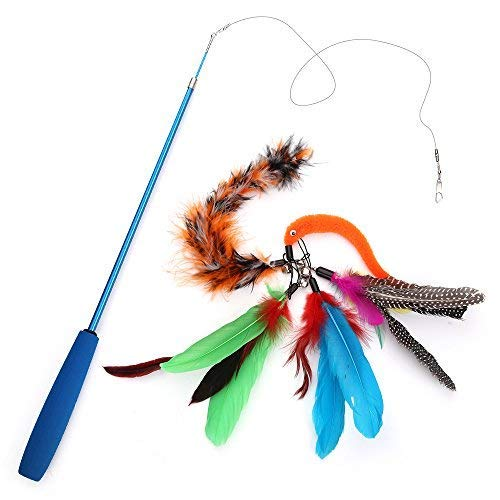 Becory Feather Teaser Cat Toy, Retractable Cat Feather Toy Wand with 5 Assorted Teaser with Bell Refills, Interactive Catcher Teaser for Kitten Or Cat Having Fun Exerciser Playing 8