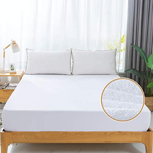 GUHER Queen Size Waterproof Mattress Protector Premium Hypoallergenic Bed Mattress Protector, Cotton Terry Top, Vinyl Free