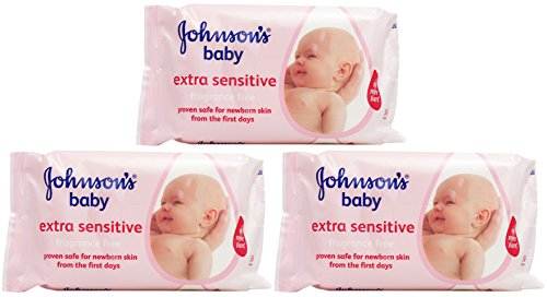 Johnson's Baby Skincare Wipes, Extra Sensitive, Fragrance Free, 56 Count (Pack of 3)