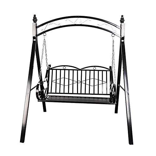TWW Outdoor Wrought Iron Swing Rocking Chair, Hanging Chair, Summer Adult Balcony Wrought Iron Rocking Chair Swing,Black