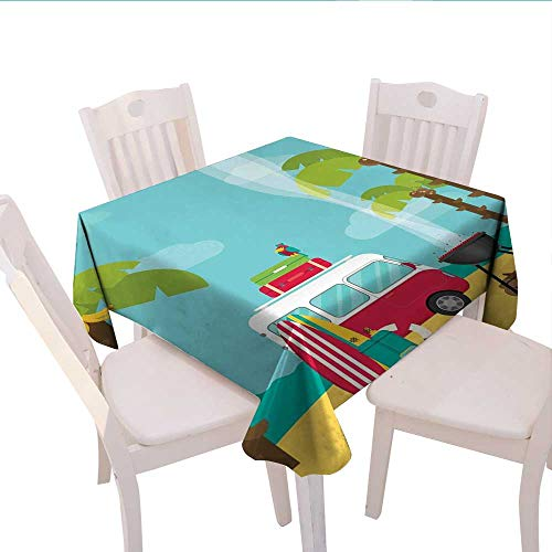 Home-textile-print Explore Dinner Picnic Table Cloth Caravan Camping with Barbeque and Surf Boards Tropical Beach Banana Coconut Trees Waterproof Table Cover for Kitchen 60x60 (inch) Multicolor