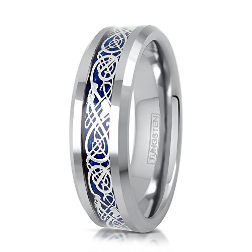 Celtic Wedding Ring Sets - King's Cross Personalized Engraved 6mm/8mm Silver Tungsten Carbide Wedding Band w/Silver Celtic Dragon Inlay on Beautiful Royal Blue Background. (tungsten (6mm), 6)