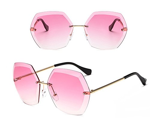 moda de Pink recorte GGFTX Film Nuevas de de sin Lady Ocean gafas marco sol Amarillo qXzz6Iw