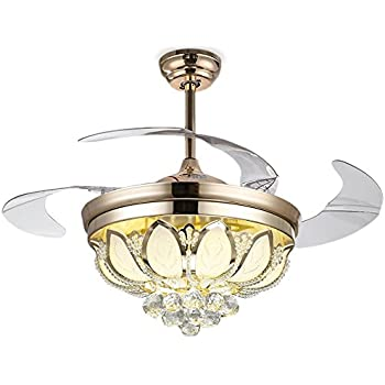 Natsukage 42 inch luxury modern crystal ceiling fan lamp - Bedroom ceiling fans with remote control ...