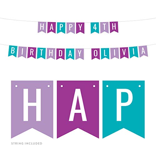 Andaz Press Personalized Hanging Pennant Banner Party Decorations, Lavender, Purple, Aqua, Happy 4th Birthday Olivia, 1-Pack, Approx. 5-Feet, Custom Name and Number, Mermaid Theme