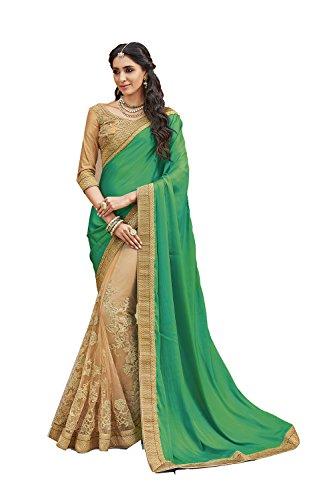 Sangrahan Indian Women Designer Party wear Green Saree Sari SS-11892