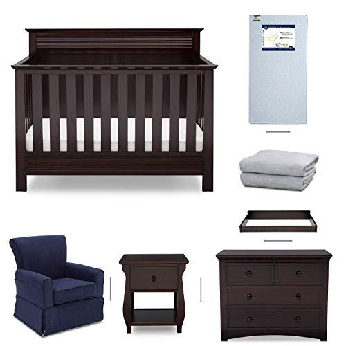 Crib Furniture - 7 Piece Nursery Set with Crib Mattress, Convertible Crib, Dresser, Nightstand, Glider Chair, Changing Top, Crib Sheets, Serta Fall River - Brown/Navy