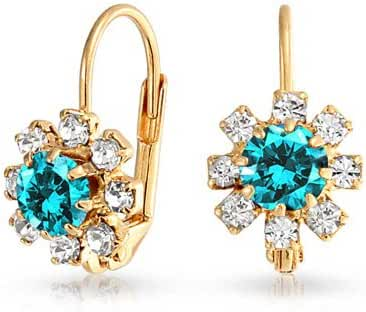 Simulated Aquamarine Flower Leverback Earrings Gold Filled