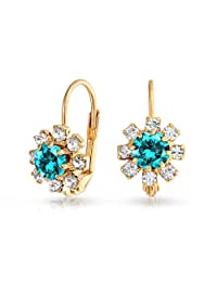 Bling Jewelry Simulated Aquamarine Flower Gold Filled Leverback Earrings