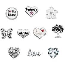Corykeyes Love Mom Nana Family Floating Charms Set For Glass Living Memory Lockets