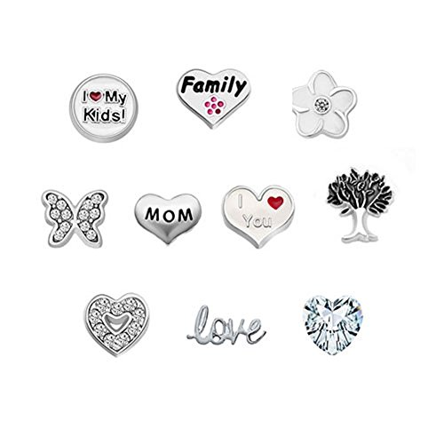 Corykeyes Love Mom Nana Family Floating Charms Set For Glass Living Memory Lockets (Style6)