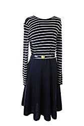 Lauren Ralph Lauren New Navy Crew-Neck Striped Belted Sweater Dress XL $225 DBFL
