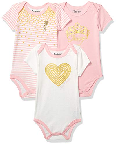Juicy Couture Baby Girls 3 Pieces Pack Bodysuits, Pink/Vanilla 3-6 Months