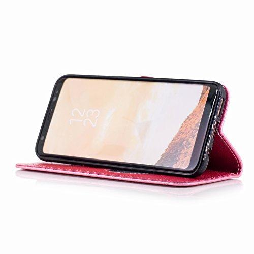 Yiizy Samsung Galaxy S8 Custodia Cover, Amare Design Sottile Flip Portafoglio PU Pelle Cuoio Copertura Shell Case Slot Schede Cavalletto Stile Libro Bumper Protettivo Borsa (Rosa)