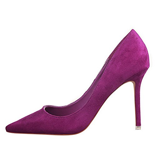 VogueZone009 Women's High-Heels Imitated Suede Pull-On Closed-Toe Pumps-Shoes Purple dmWZPq