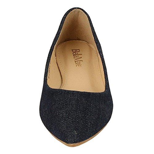 Bella Marie BellaMarie Angie-28 Damen Klassische Zehenspitzen Ballett Flache Schuhe Blauer Jeansstoff