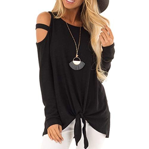 MILIMIEYIK Blouse Long Sleeve Dresses for Women Womens Waffle Knit Tunic Tie Knot Tops Loose Fitting Bat Wing Plain Shirts Black ()