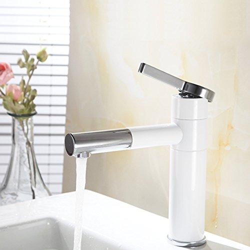 Homelody® mit Lack beschichtet Weiß Wasserhahn Waschbecken Armatur Waschtisch BadarmaturEinhebelmischer