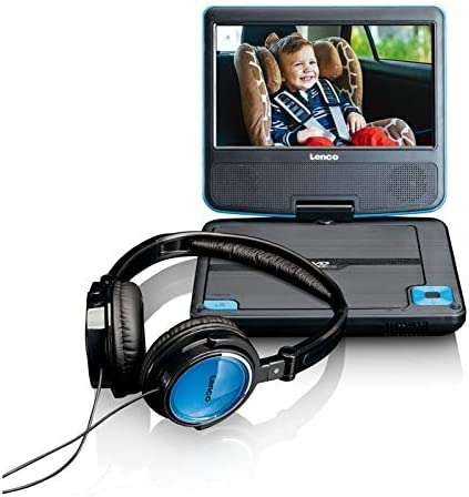 Lenco Tragbarer Dvd Player Dvp 710 7 Zoll Tragbarer Dvd Player Li Ionen Akku 1000mah Kopfhörer 12 V Kfz Adapter Kopfstützenbefestigung Blau Heimkino Tv Video