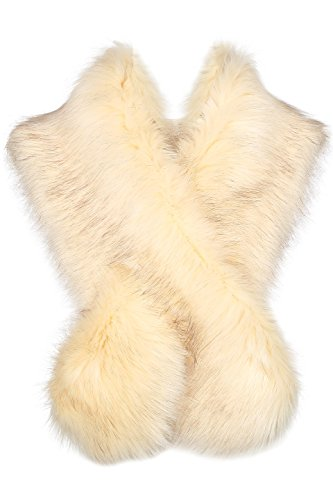 (BABEYOND Women's Faux Fake Fur Collar Shawl Faux Fur Scarf Wrap for Winter Coat 1920s Flapper Outfit 120cm/47.2