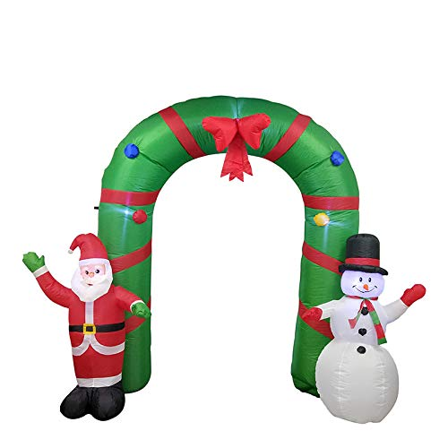 ALEKO CHID010 Giant Inflatable Santa and Snowman Holiday Christmas Greeting Archway with UL Certified Blower and LED Lights 8 -